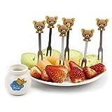 Obstgabel, süßes Set mit 6 Obstgabeln mit Halterung, Edelstahl, für Zuhause. bär