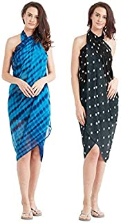 SOURBH Women's Synthetic Sarongs Cover up Beach Wear/Wrap Pareo (S14A, Free Size, Blue and Navy Blu, Black) -Set of 2