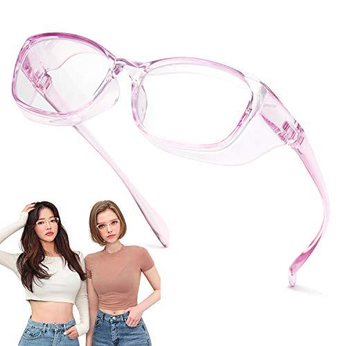Jardin d'amour Gafas de seguridad, lentes con revestimiento antivaho y rayado, protectores laterales a prueba de viento Morado claro