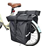 WTTX Alforja trasera para bicicleta, doble alforja, desmontable, impermeable, gran capacidad, color negro, 31 x 13 x 58 cm x 2