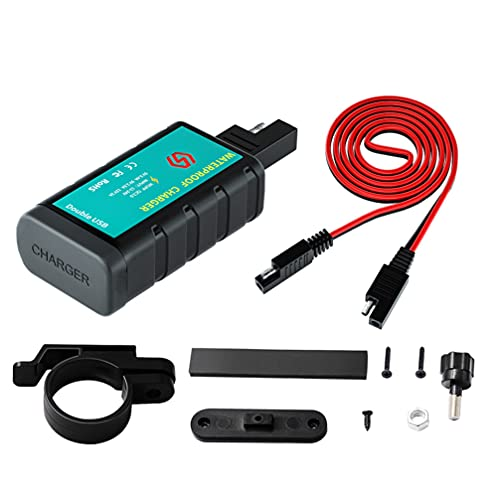 Veemoon 1 Set Motocicleta SAE a Doble USB Cargador de Teléfono Móvil Doble Enchufe con Interruptor