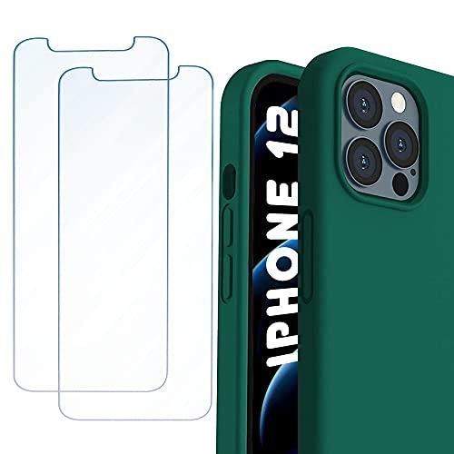 Phonix Cover per iPhone 12 e 12 PRO + 2pz. Vetro Temperato Garanzia Italiana | Custodia Silicone Colorata + 2pz. Pellicola Vetro Protettiva | Proteggi Schermo AntiGraffio (Cover Forest Green)