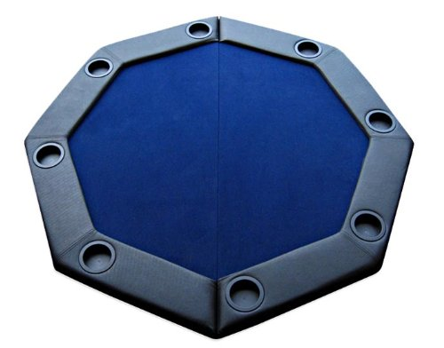 Padded Octagon Folding Poker Table Top with Cup Holders - Blue Color