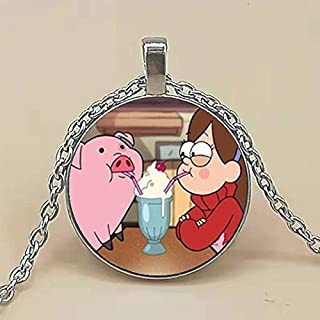Steampunk Cosplay Gravity Falls Mysteries Bill Cipher Wheel Pendant Necklace Pig Mabel 1pcs/lot Chain Womens Fashion Jewelry Toy