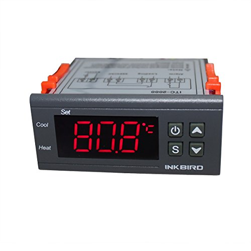 Inkbird ITC-2000 220V Termostato Digital Double Relés Control de Temperatura Calefacción/ Refrigeración + Conexión de Alarma para Ventilador, Incubación, Calentador de Agua y Enfriador Industrial