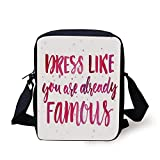 Inspirational,Watercolor Quote about Fashion Clothes Fame Pink Brushstrokes Calligraphy Decorative,Pink Fuchsia Print Kids Crossbody Messenger Bag Purse