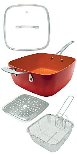 Red Copper Square Pan, Padella Multiuso Antiaderente e Antigraffio, in Rame e Ceramica, Adatta a Tutti i Tipi di Cotture, va in Forno, larga 24 cm, Alta 9 cm