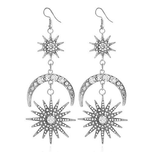 Pendientes colgantes exagerados YAZILIND aleación bohemia CZ sol y luna colgante pendiente joyería femenina (plata)