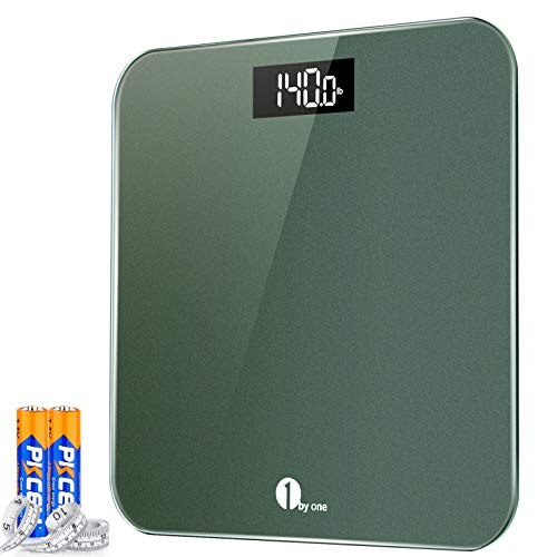 1byone Digital Body Weight Scale Bathroom Scales with Accurate Step-on Technology, LED Display, 400 lbs Capacity ,Tape Measure and Batteries Included, Green