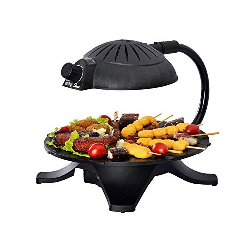 RVTYR 3D-Infrarot-Grill Griddle, rundes Design Elektrische Griddle, Smokeless tragbare Runde Design for Haushalt Non-Stick Rotating Barbecue Dish Camping Grill