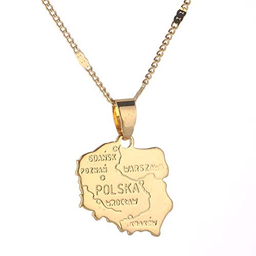 Collar con colgantes de mapa de Polska de color dorado para mujer, mapa de Polonia, joyería de cadena
