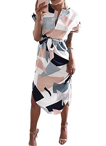 Landove Robe Imprimée Mi Longue Femme Casual Party Boheme Robe Géométrique Encolure V Manches Courtes et Longue Elégante Mode A-Ligne Robe de Plage Soirée Cocktail