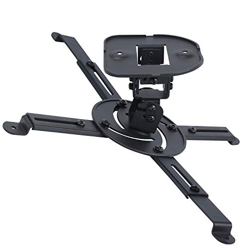 DYNAVISTA Full Motion Universal Projector Ceiling Mount Bracket with Adjustable Extendable Arms Rotating Swivel Tilt and Low Profile Mount for Home and Office Projector (Black)