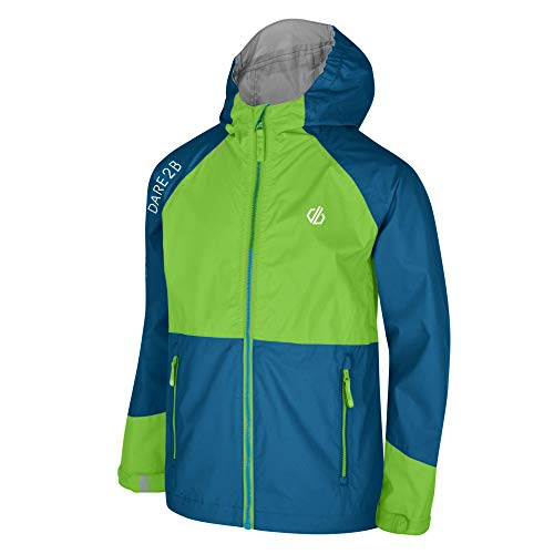 Dare 2b Kinder Affiliate Lightweight Waterproof Hooded Shell Jacke, Jasmine Green/Petrol Blue, 152