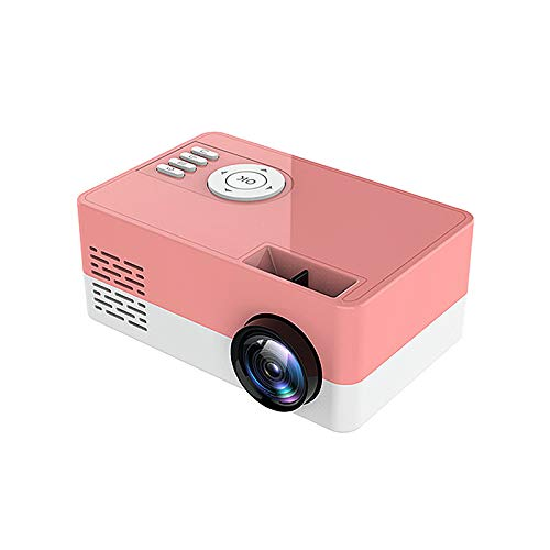 Saicowordist Mini Projector,Portable Projector Full HD 1080P LED Video Projector,50000 Hours Lamp Life LED Video Projector, Compatible with USB/HD/Sd/Av/VGA for Home Theater(Pink)