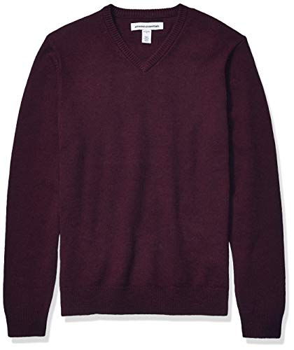 Burgundy V Neck Sweater Mens