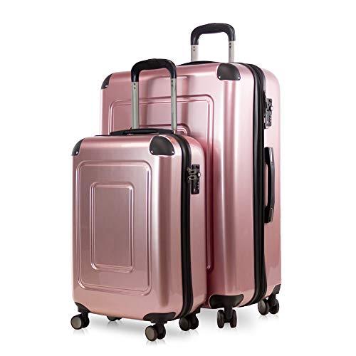 Happy Trolley - 2er Koffer-Set Trolley-Set Rollkoffer Hartschalen-Koffer Reisekoffer Lugano sehr leicht, TSA, (S+XL), Rosegold