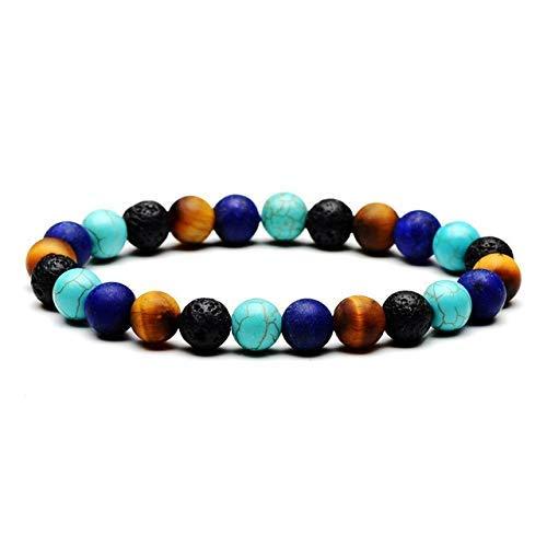 Pulseras de energía Cuentas de bolas redondas de 8 mm Turquesas Lapislázuli Ojo de tigre Piedra de lava negra Mala Pulseras con cuentas Hombres Mujeres Joyería (Color: Frosted)