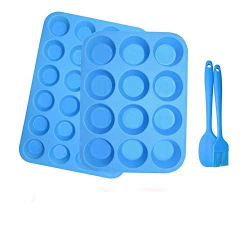 2Pack Silikon Muffinform Formen,12 + 24 Cavity BPA-freie Antihaft-sichere Muffin Backform Maker Pfanne für Cupcake Biscuit Bagels Muffins (Blau[12+24])