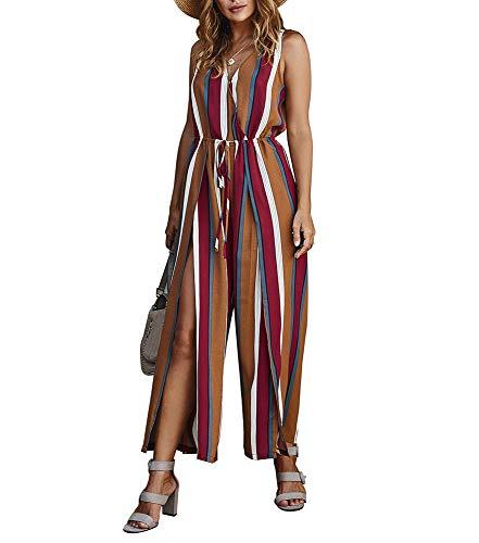 Zomer Casual jumpsuits Rompertjes Speelpakjes - Mouwloze gestreepte broek met wijde pijpen en colorblock
