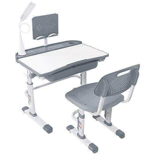 Yinleader Juego de escritorio y silla infantil ajustable con lámpara de protección ocular, soporte para libros, escritorio inclinado, ideal para escribir, leer y dibujar (gris)