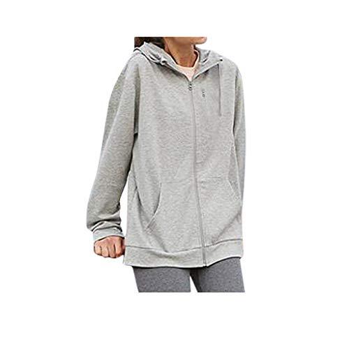 Makalon Dames sweatshirt met capuchon, opblaasbaar, unisex, zakjas met kussen, jas, mondgeblazen capuchon, damesjas, chique damesjas, herenjas, winterjas (grijs, S)