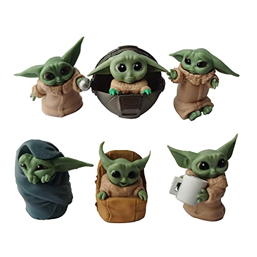 Yoda Baby Character Model Action Figure Doll, Baby Yoda Toys for Kids, Baby Yoda Action Figure, Child Yoda Toy, Baby Yoda Figurine, Suitable as a Gift for Children - 6Pcs