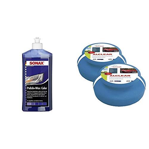 SONAX Polish & Wax Color NanoPro blau (500 ml) Politur mit Farbpigmenten und Wachsanteilen auf Nanotechnologie-Basis & ALCLEAR 5713050M Auto Profi Handpolierschwamm, 2 Stück, 130x50 mm