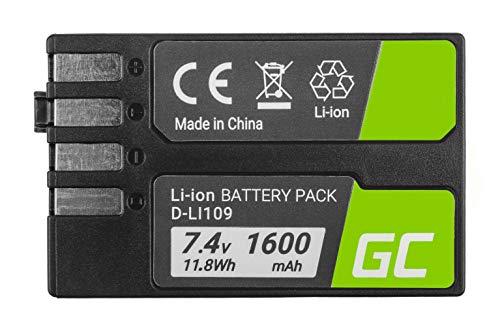 Green Cell® D-Li109 DLi109 Batería para Pentax K-r K-2 K-30 K-50 K-500 K-S1 K-S2 Cámara Full Decoded (Li-Ion Celdas 1600mAh 7.4V)