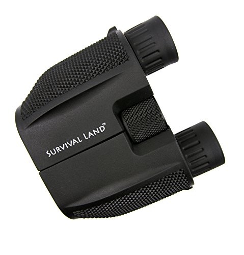 Survival Land 10x25 Low Light Binoculars – Low Light Night Vision, 65° Wide Angle Field of View, 10x Zoom, 25mm Objective Lens, Lightweight, Water Resistant, Compact & Foldable