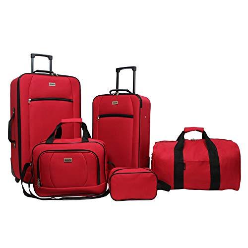 Dejuno Lightweight 5-Piece Rolling Luggage Set, Red