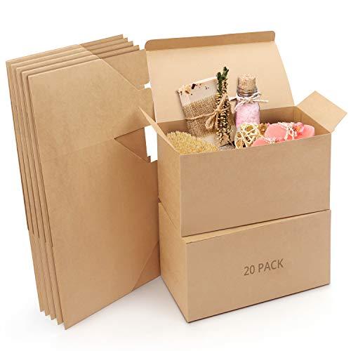 Belle Vous Cajas de Cartón Kraft Marrones (Pack de 20) Medidas de las Cajas 23 x 11,5 x 11,5 cm - Caja Kraft Fácil Ensamblado para Presentación - Cajitas para Regalos, Fiestas, Cumpleaños, Bodas