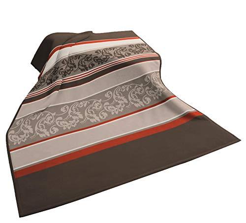 biederlack Modern Basic Decke/Überwurf, Ranke 150 x 200 cm, beige braun orange