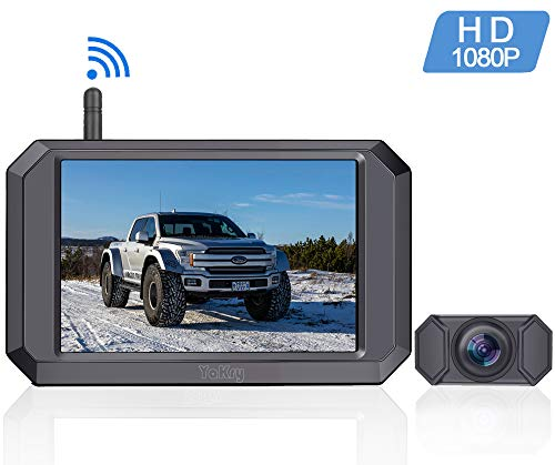 Yakry Y24 HD 1080P Digital Wireless Backup Camera System 5 Inch Monitor Hitch Rear View Camera for Trucks,Campers,Vans,Small RVs,Cars Front View Camera Guide Lines Settings IP69K Waterproof backup Cameras Vehicle