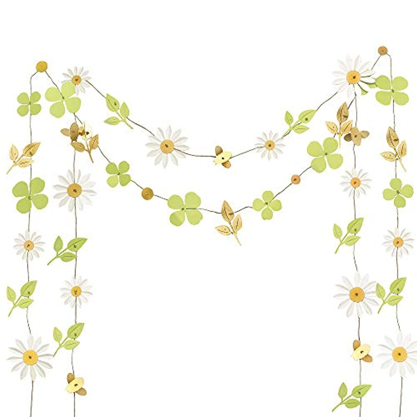 Ling's moment 13FT Paper Lucky Clover Daisy Leaves Bee Banner, Set of 2, Handmade Banner, Hanging Flower Backdrop Garland for Baby Nursery Bridal Shower Birthday Party Backdrop Wedding Dorm Room