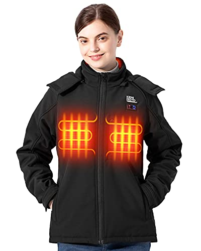 kemimoto Women s Heated Jacket, Electric Warming Heating Coat with Battery Pack Detachable Hood for Hunting Fishing Cycling
