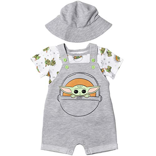 Star Wars The Mandalorian Baby Yoda Baby Boys Shortalls T-Shirt Hat Set Light Gray 12 Months