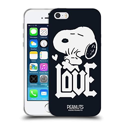 Head Case Designs Licenza Ufficiale Peanuts Snoopy Woodstock Love T-Shirt Rock Cover in Morbido Gel Compatibile con Apple iPhone 5 / iPhone 5s / iPhone SE 2016