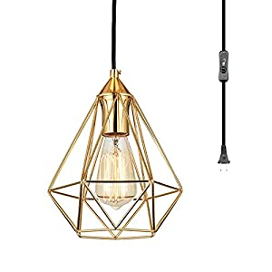 HOXIYA Plug in Pendant Light Industrial Cage, Golden Pyramid Hanging Lamp Fixture with 15ft Cord On/Off Switch, E26 Socket Luxury Hanging Light, Retro Pendant Lighting for Kitchen Island Living Room