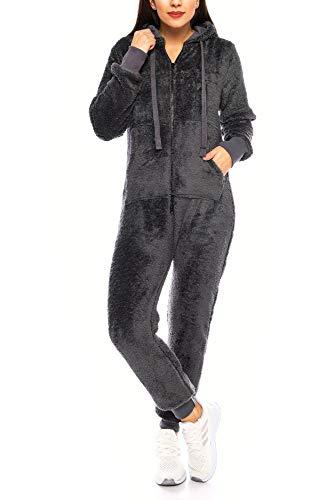Crazy Age Teddyfleece Teddyfell Jumpsuit flauschig und kuschelig One Piece Overall warm (Anthrazit, XL)