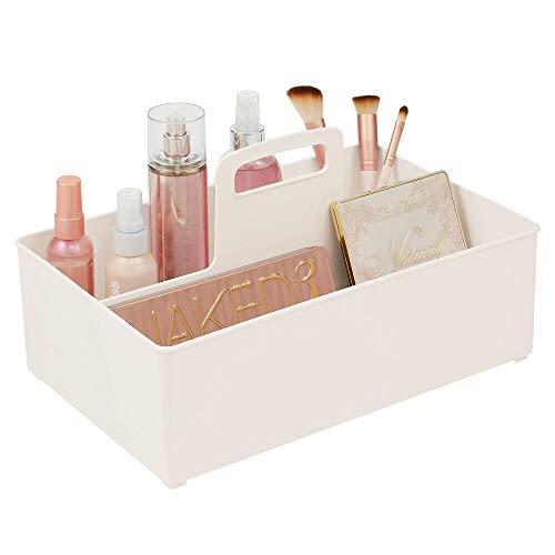 mDesign Cesta organizadora con 2 Compartimentos para el baño – Caja con asa para cosméticos, Maquillaje o pintaúñas – Organizador de Maquillaje portátil de plástico – Crema