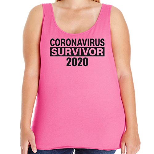 CORONAVIRUS Survivor 2020 Womens Plus Size Tank Top in Hot Pink - 2X (18/20)