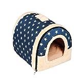 Enko Luxury Cozy 2-in-1 Pet House et Canapé, De Haute Qualité Intérieur et Extérieur Portable Foldable Dog Room/Lit pour Chat. Donnez à Votre Animal Un Maison Confortable. (Medium, Bleu)