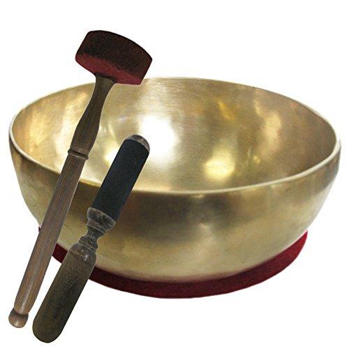 Therapieklangschale 1100-1300g Klangschale Handarbeit (Nepal) 4-tlg. Klangmassage-Set GROSSE HERZSCHALE 20-22 cm mit DUNKLEM TON + Kissen + Reibeklöppel + Filz-Therapieklöppel. 70220-3