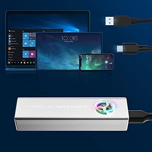 Aluminium M.2 NVME SSD Gehäuse-Adapter, 2010 Gbit/s USB C-Festplattengehäuse Adapter für M-Key oder M+B Key NVME SSD 2230/2242/2260/2280 M.2 NVMe SSD, Untersützt UASP-M2PV