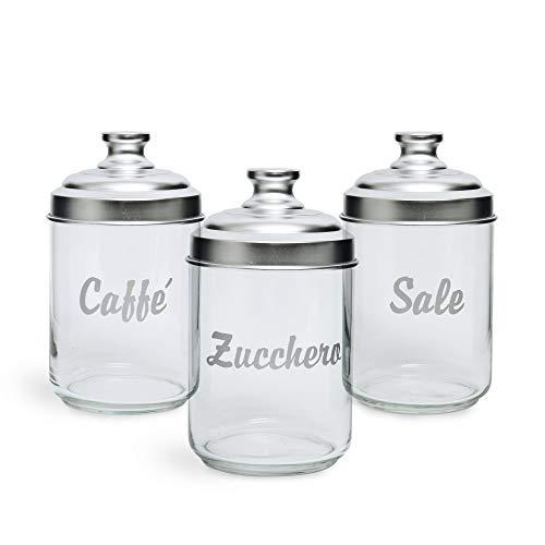 Excelsa Essential Set 3 Vorratsdosen: Salz, Kaffee und Zucker, Fassungsvermögen: 1 Liter