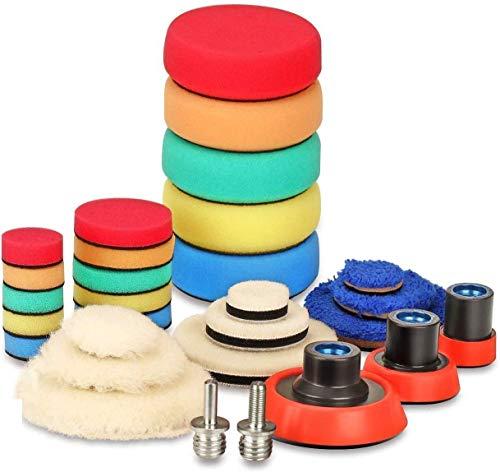 29 Pcs Car Polishing Pad Kit Sponge Wool Polishing Buffing Pads for Auto Drill Polishing Set with M10 Drill Adapters for Car Polishing Sanding and Waxing