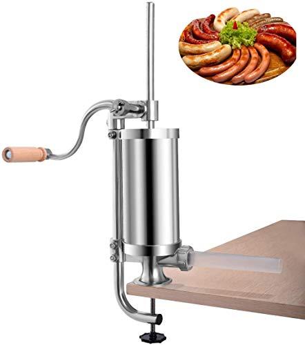 RELAX4LIFE Wurstpresse manuell 1,5 L, Wurstmaschine mit 4 Wurstfüllrohren, Wurstfüllmaschine aus Edelstahl & Aluminium, Wurstfüller mit Handkurbel und Tischklemme, für häusliche Küche, silber