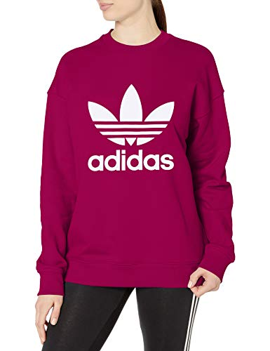 adidas Originals womens Trefoil Crew Sweatshirt, Power Berry/White, 2X US