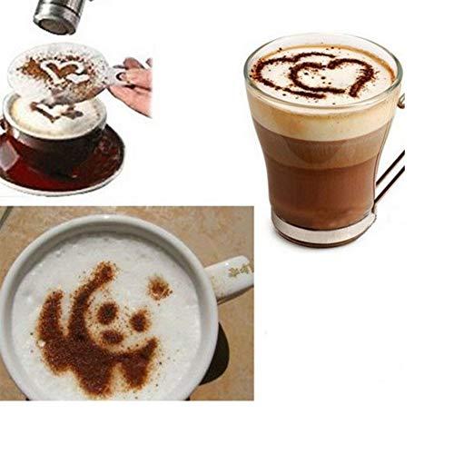 Alician 16 stks/set Cafe schuim spuit sjabloon Barista stencils decoratie gereedschap voor koffie melk